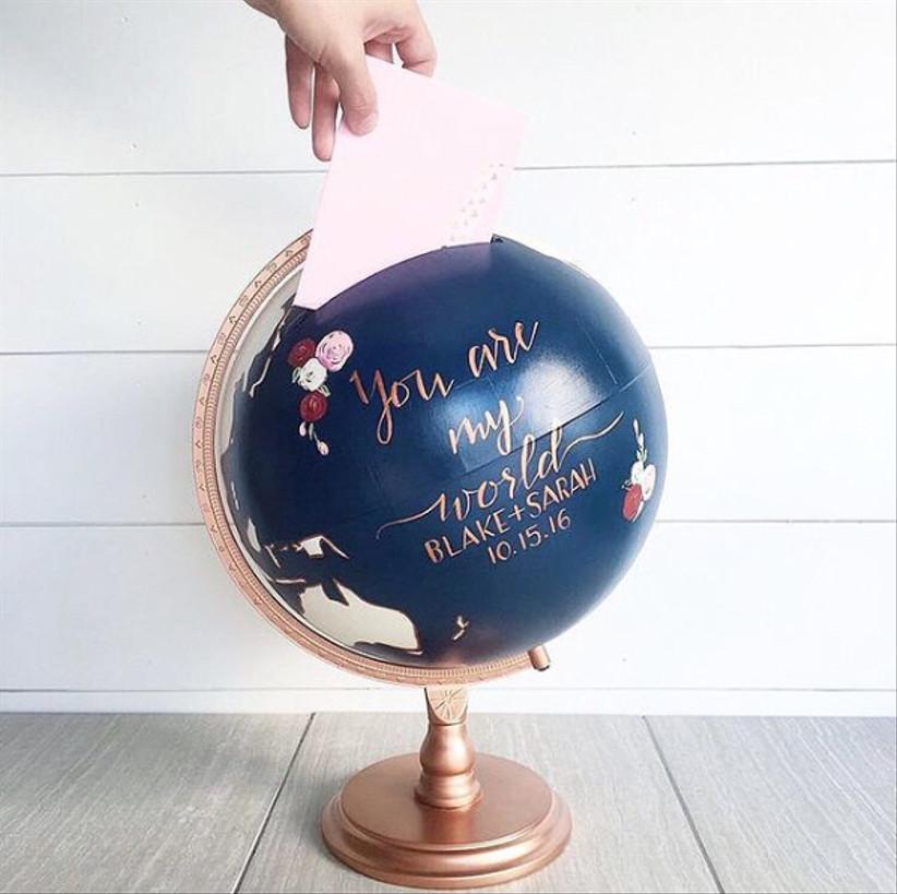 Wedding card box ideas - vintage globe