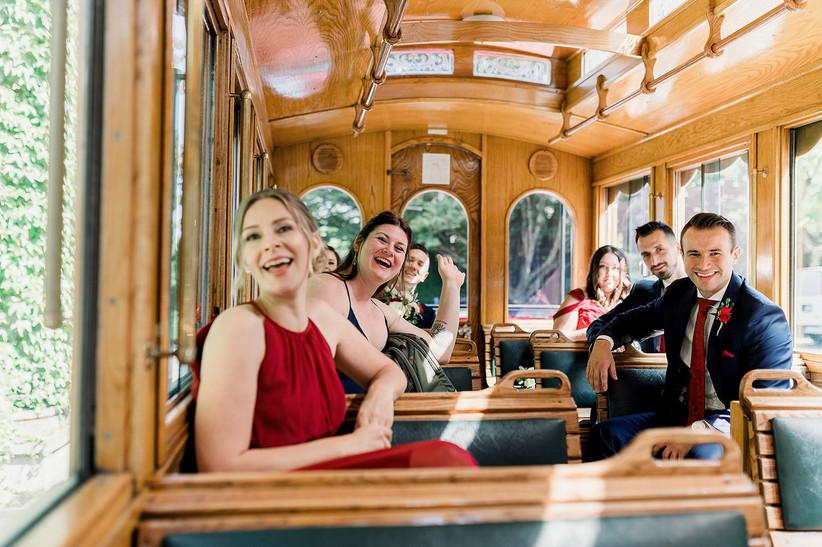 Wedding party on a trolly car