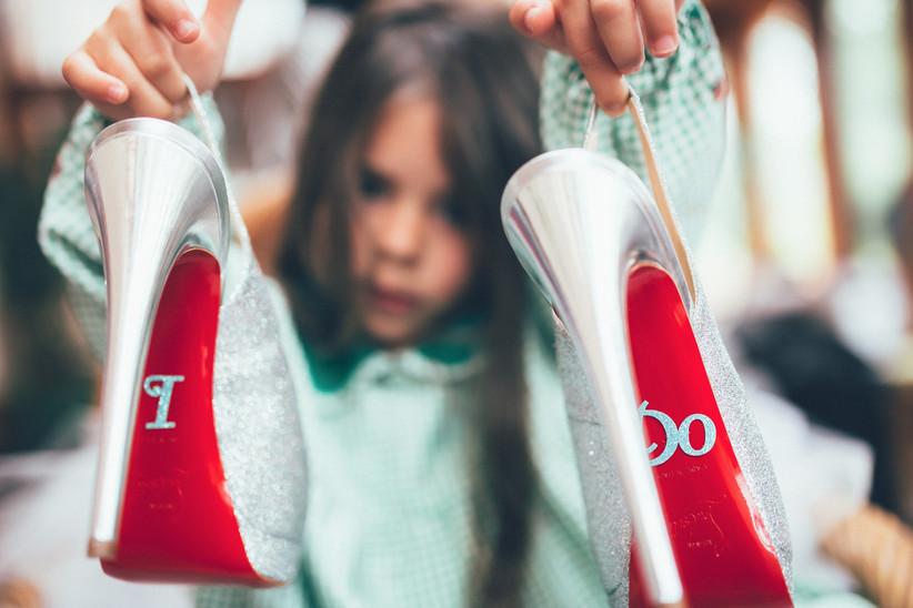 Weddings shoe soles customized with I Do