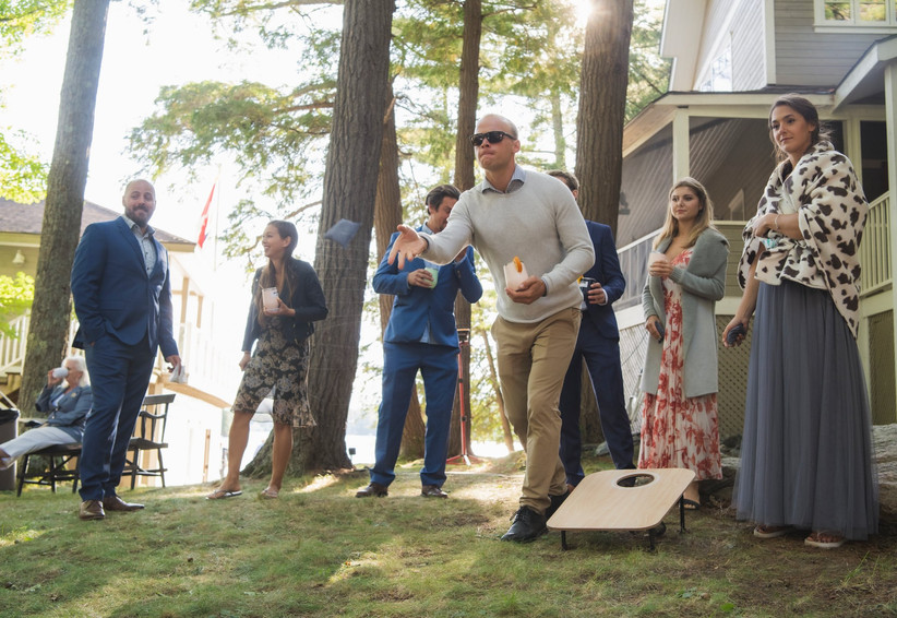Lawn games at cottage wedding