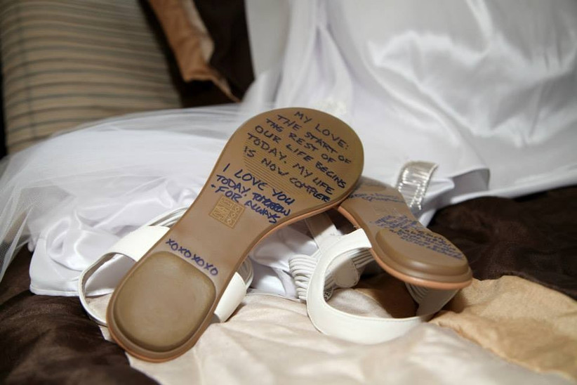 Wedding shoes customized with a secret message on the soles