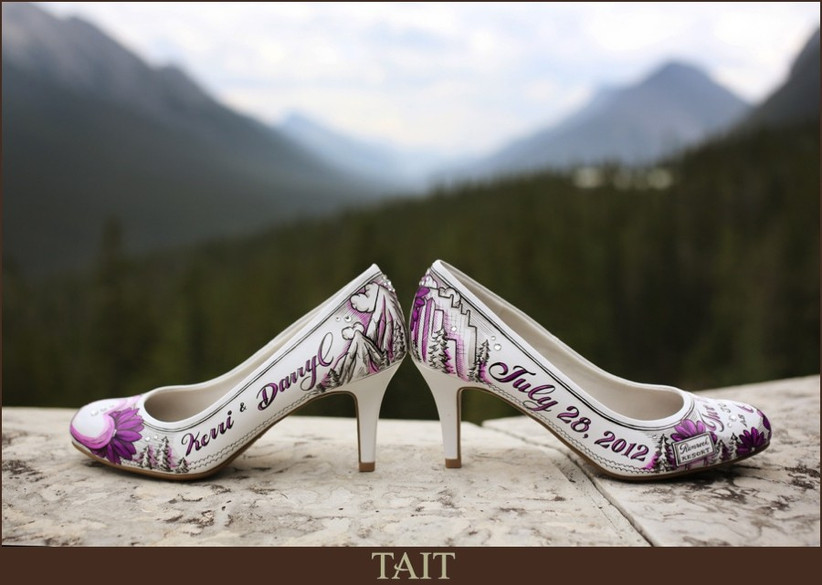 Bridal shoes customized with wedding date