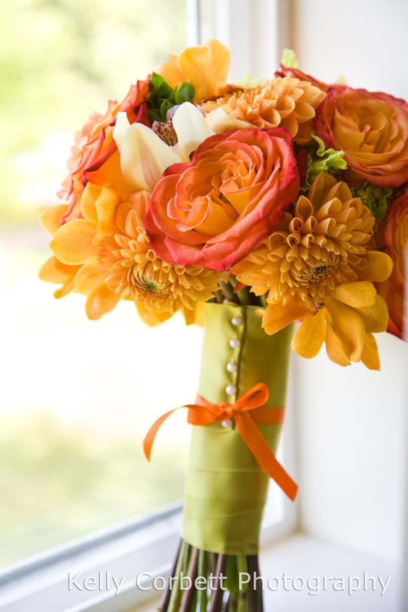 Fabric wedding bouquet wrap