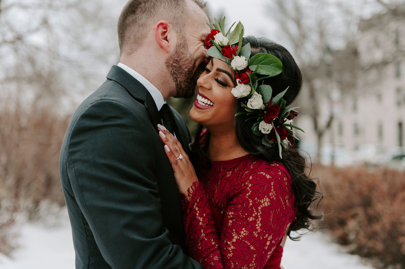 Winter bride with glowing skin