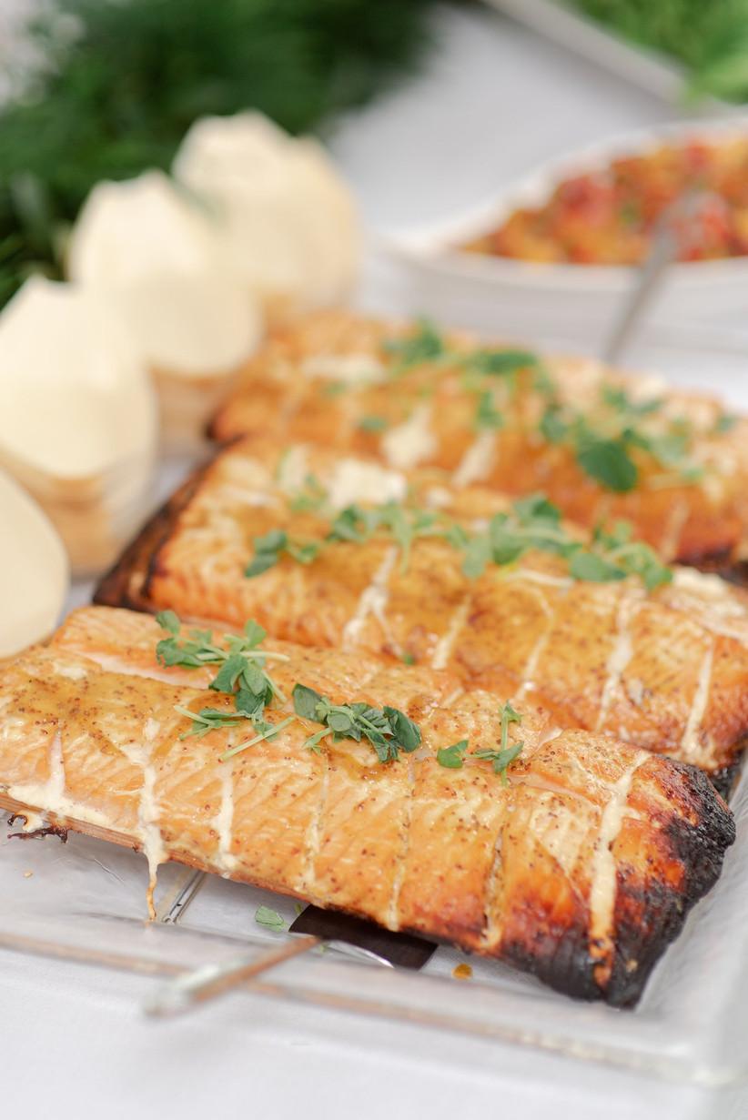 Cedar plank salmon for a Canadian wedding menu