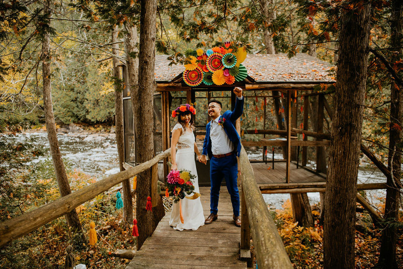 Wedding portrait with brightly coloured decorations