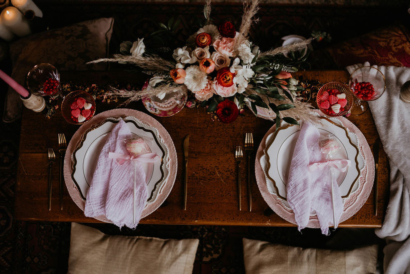 Valentine's Day wedding placesettings