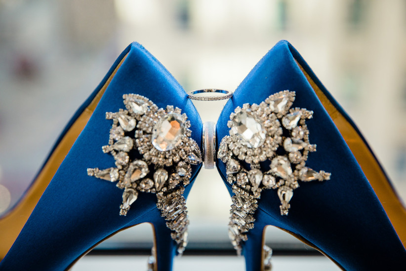 Blue wedding shoes with gemstones