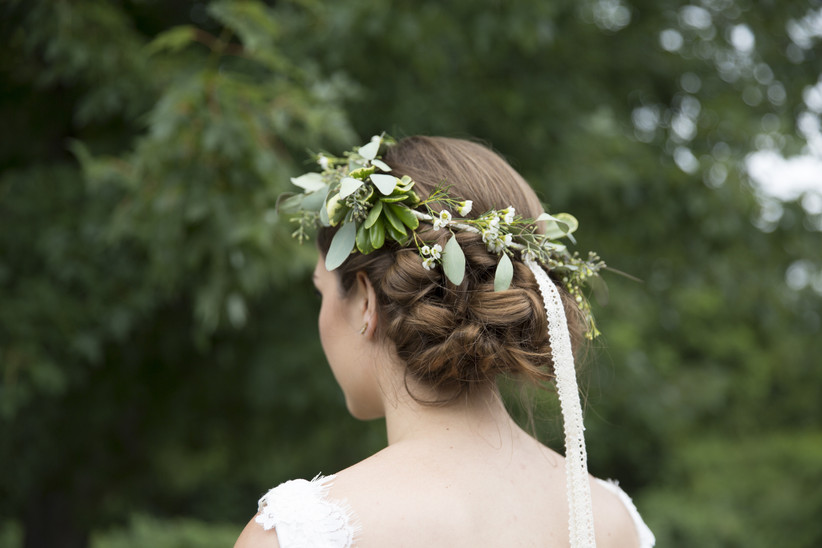 Floral wreath for a bridal hairstyle