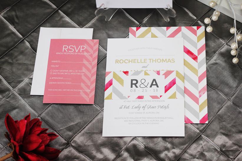 Chevron-design wedding invitation