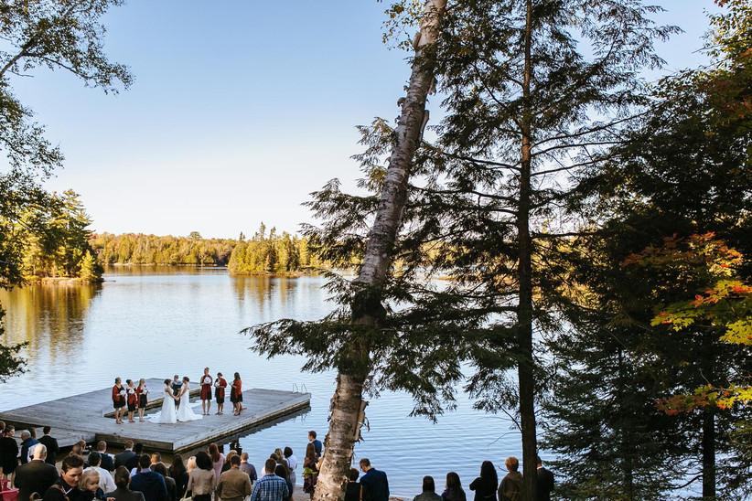 Wedding ceremony on a dock