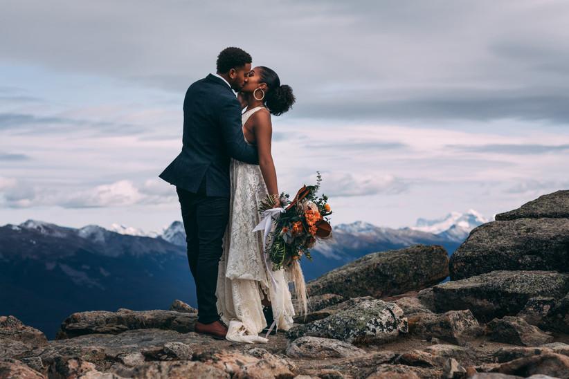 Wedding portrait on a mountaintop