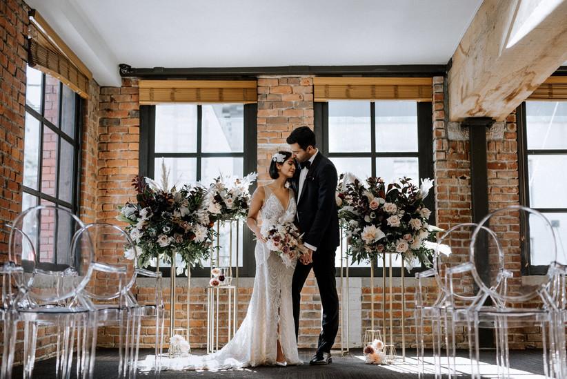 Loft wedding altar arrangements