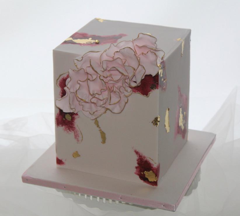 Small cube wedding cake