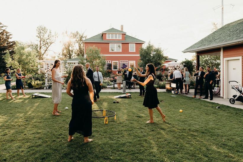 Spikeball game at a wedding