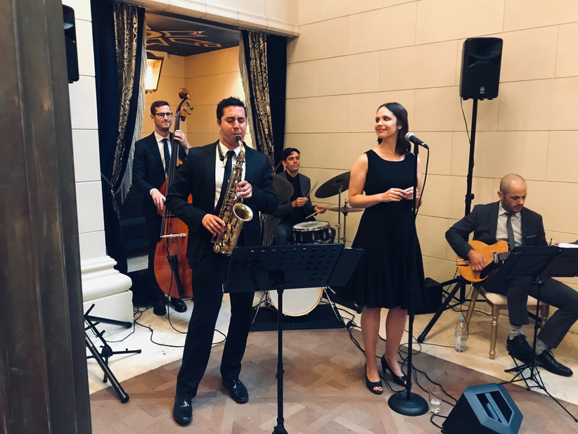 Live jazz band playing at a wedding reception