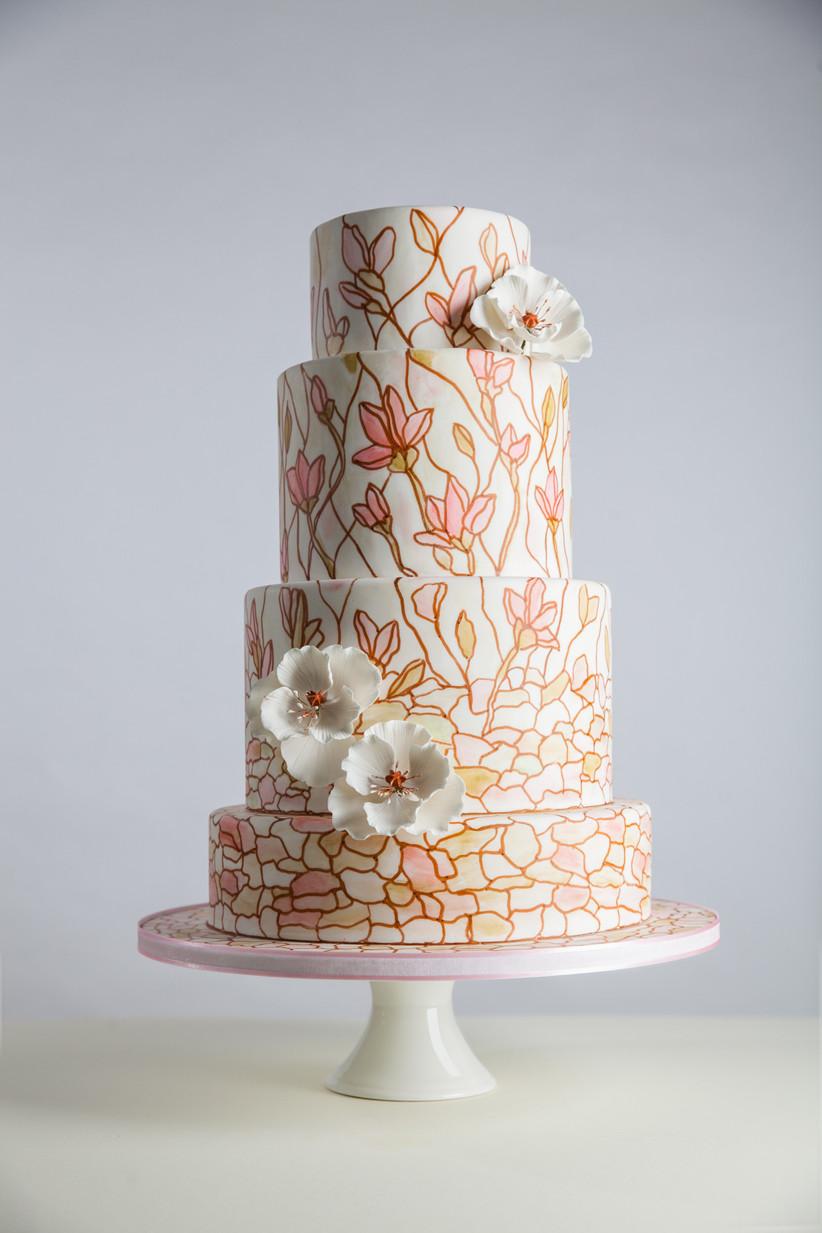 Handpainted mosaic wedding cake