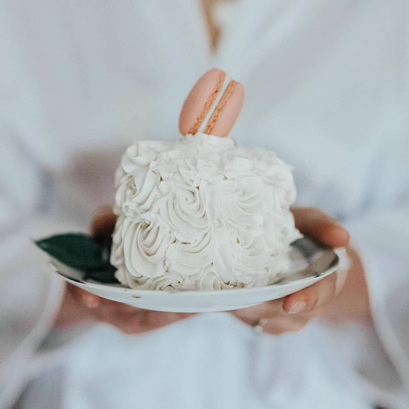 Small wedding cake with meringue icing