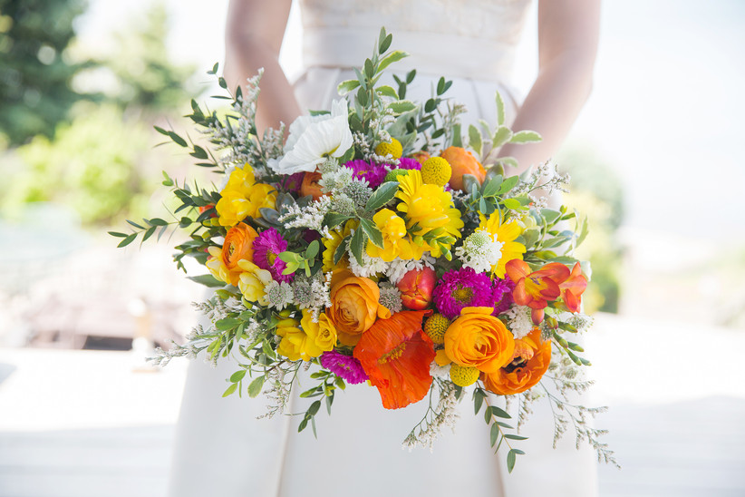 Bright spring bridal bouquet