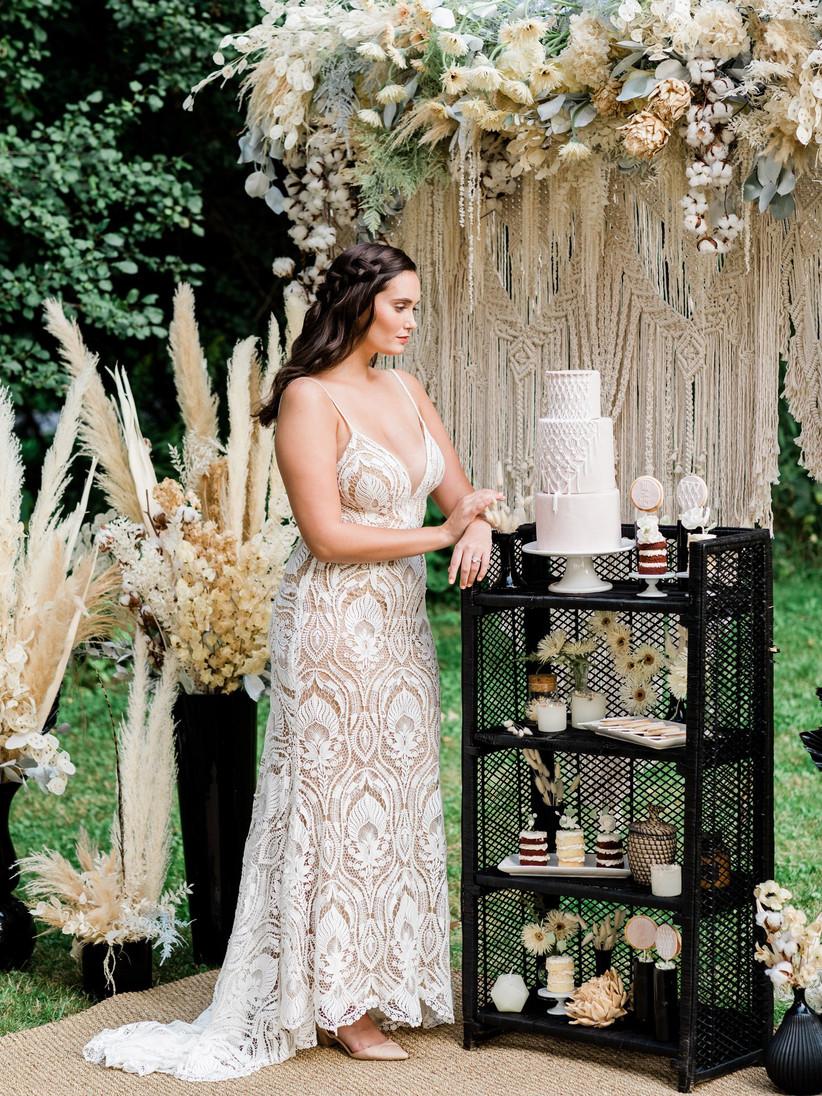 Pampas grass boho wedding dessert display