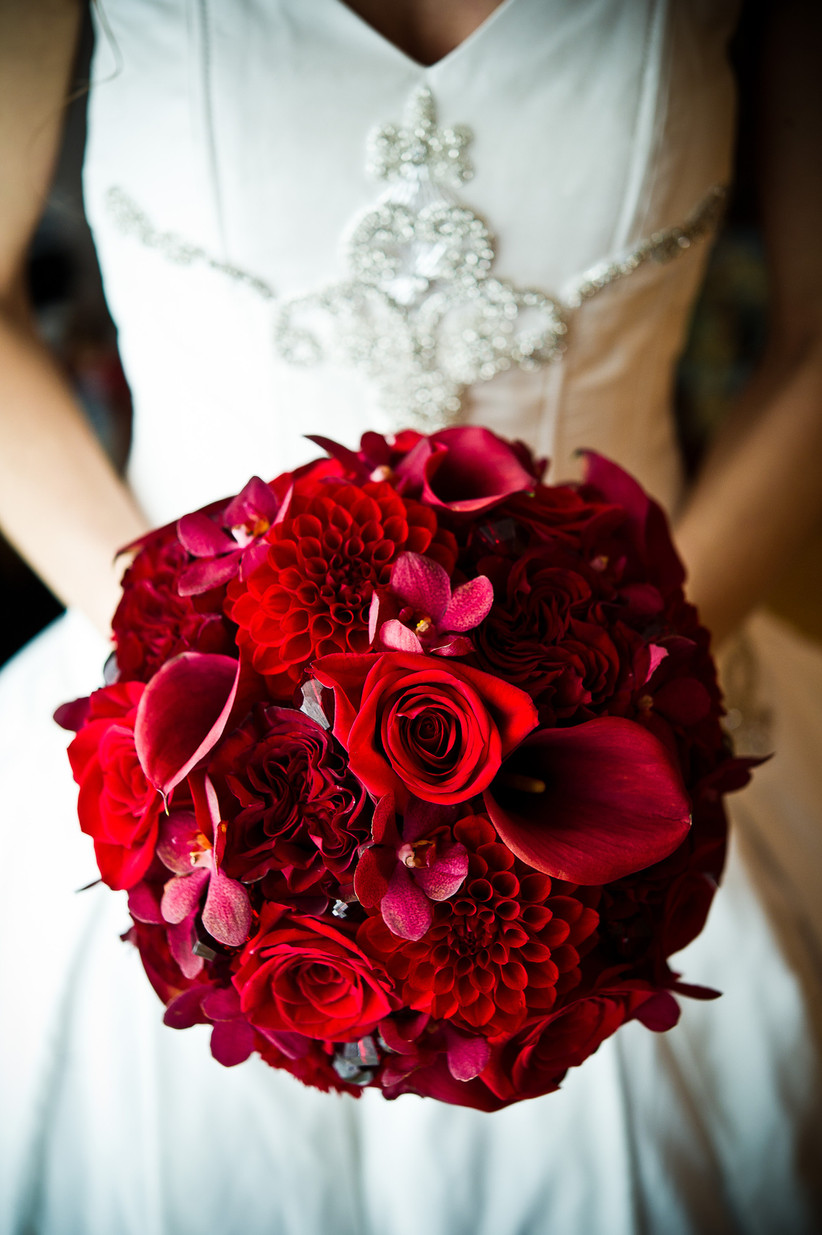Valentines' Day red wedding bouquet