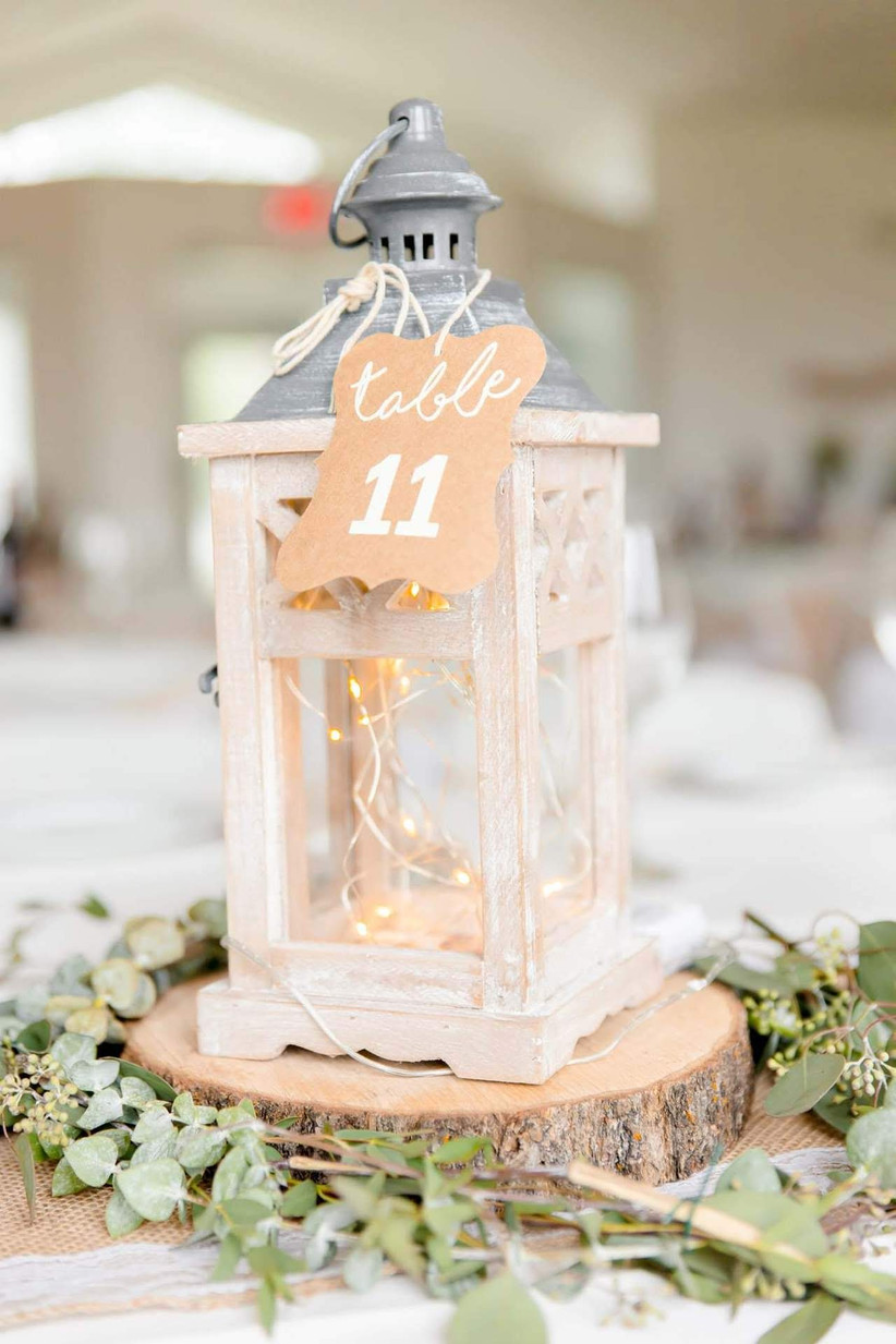 Paper tag table number hanging on a lantern