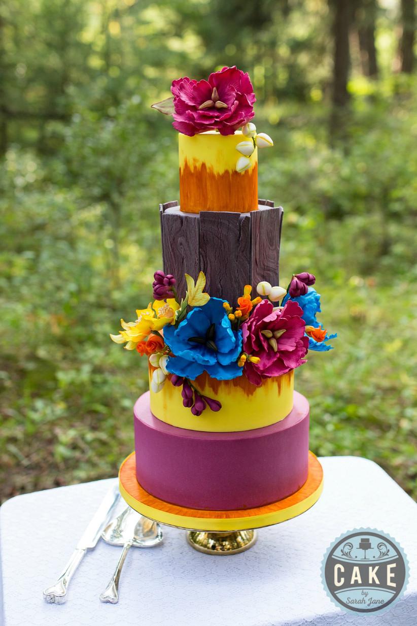 Colourful rustic wedding cake