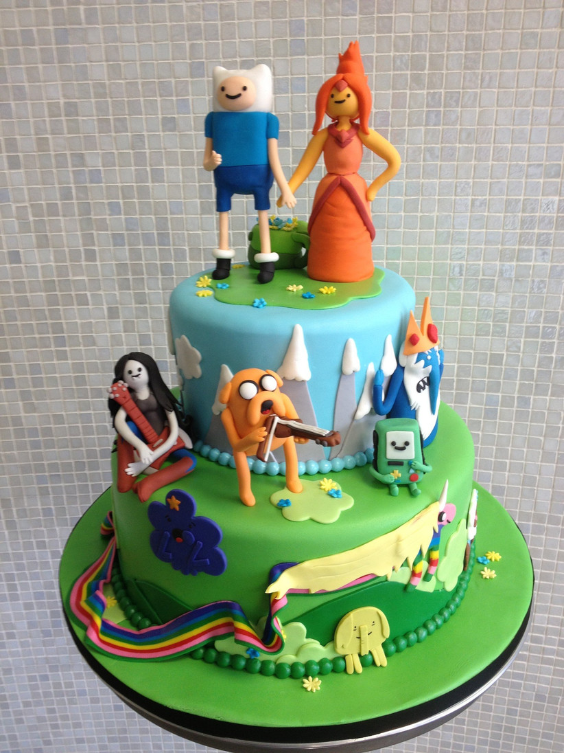 Small Adventure Time themed wedding cake