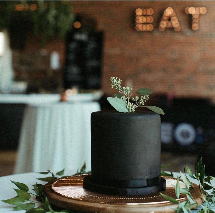 Small black wedding cake