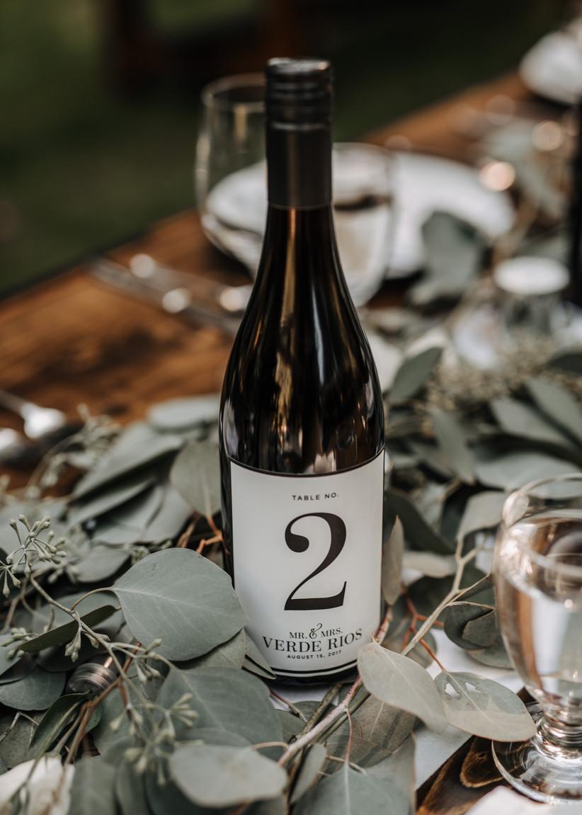 Wine bottle wedding table number