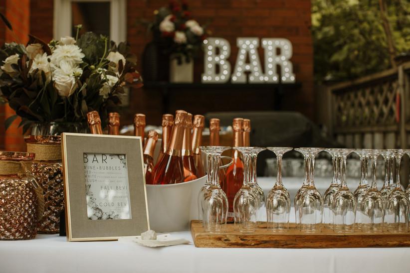 Backyard wedding bar
