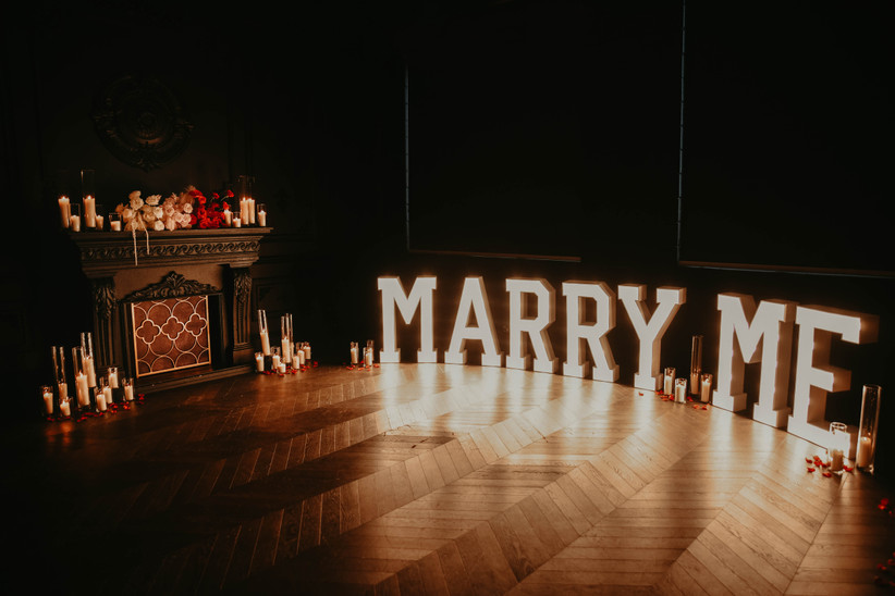 Valentine's Day Marry Me Marquee Sign