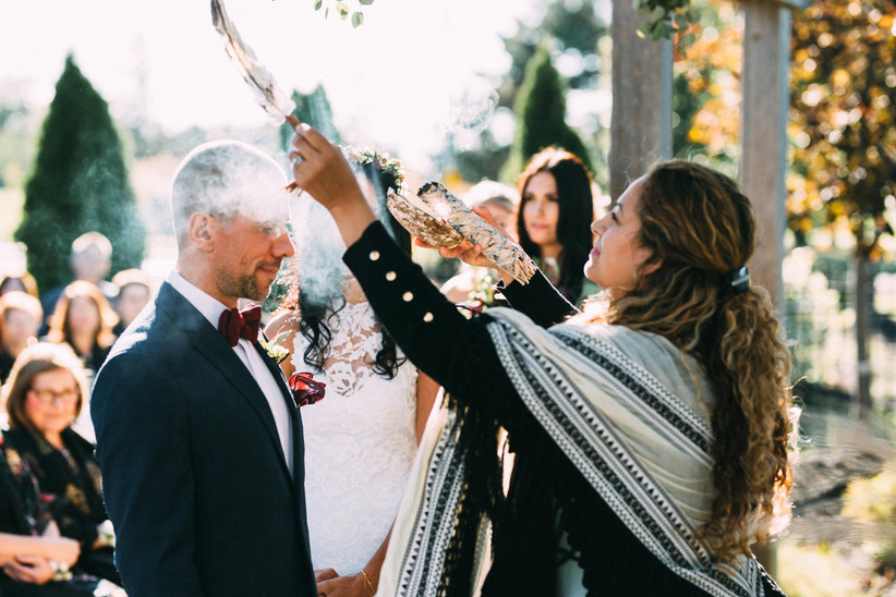 Sage Smudging Ceremony at a Wedding