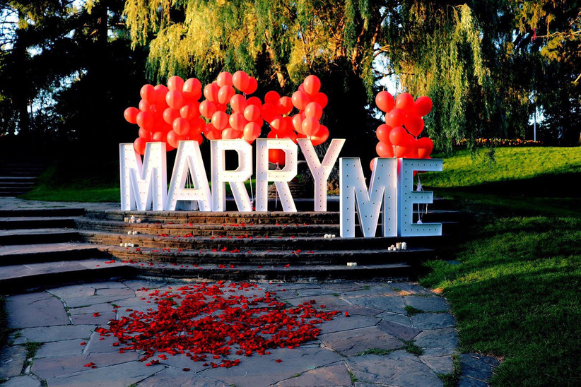 Marry Me sign in a park