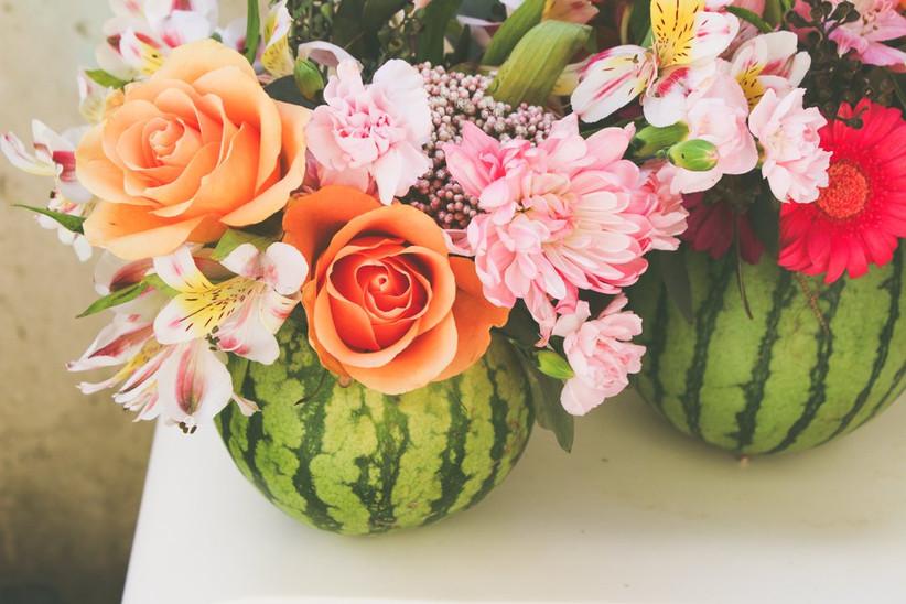 Watermelon summer wedding centerpieces