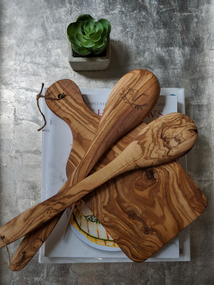 Wooden salad servers and board