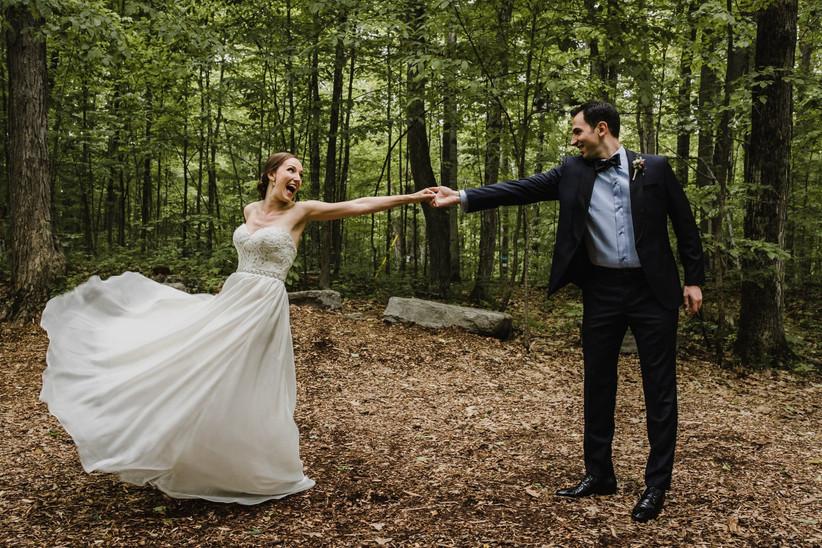 Wedding portrait in forest