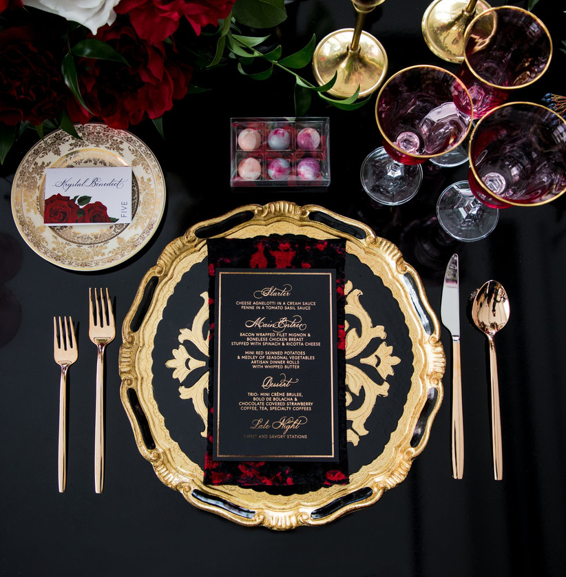 Valentine's Day wedding place setting