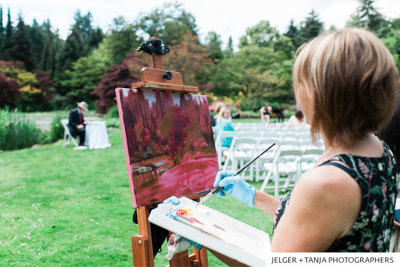 Live painting of a garden ceremony