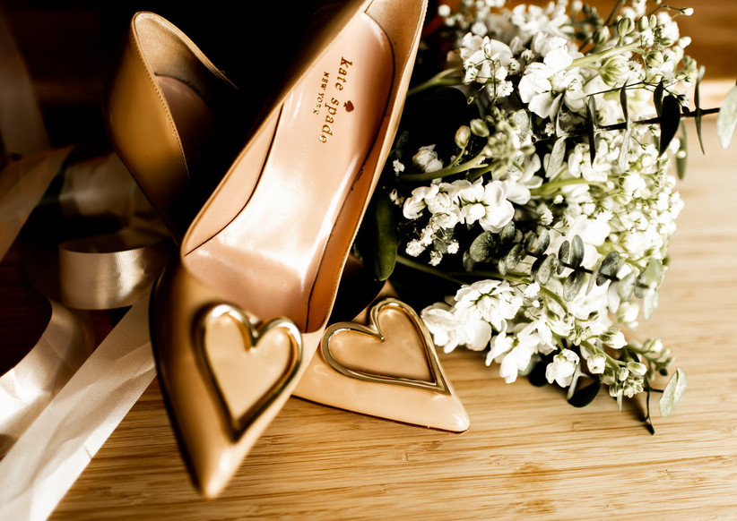 Kate Space wedding shoes with heart brooch detail