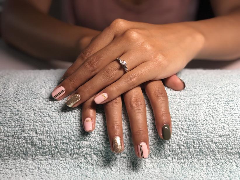 Wedding day manicure gel nails