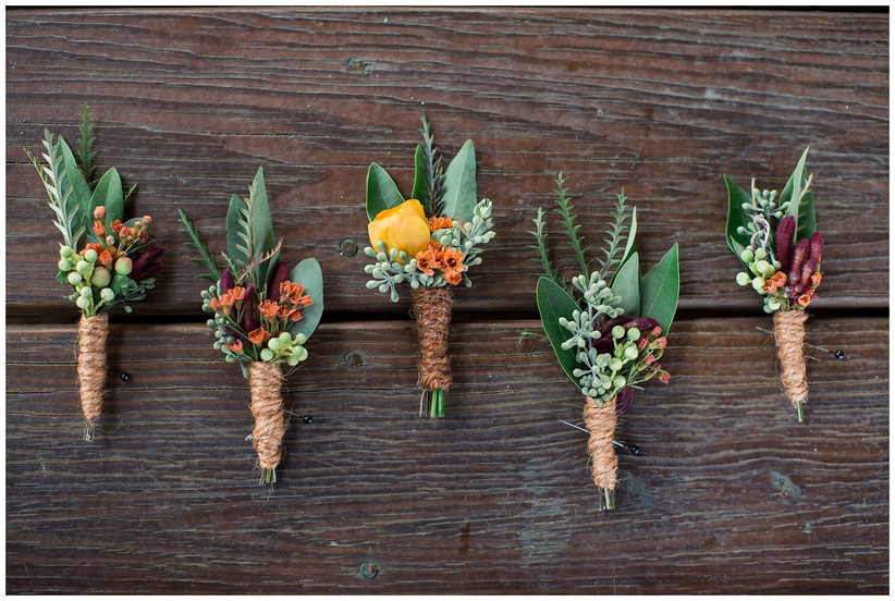 Floral and berry boutonnieres