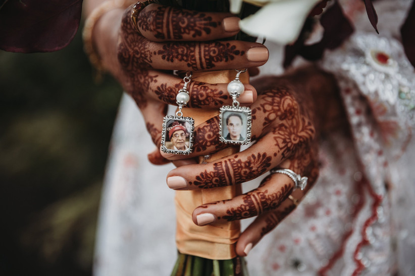 Bridal bouquet with photos of loved ones