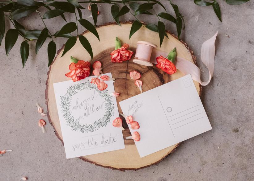 Wedding save the date postcard