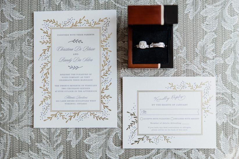 Wedding invitations flat lay photo