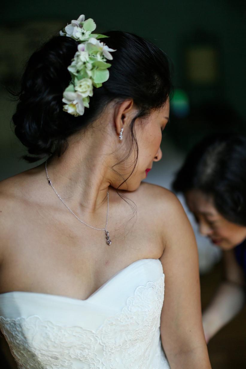 Wedding hairstyle with half flower crown