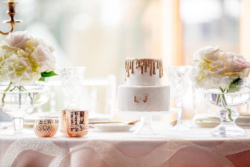 Small drip wedding cake