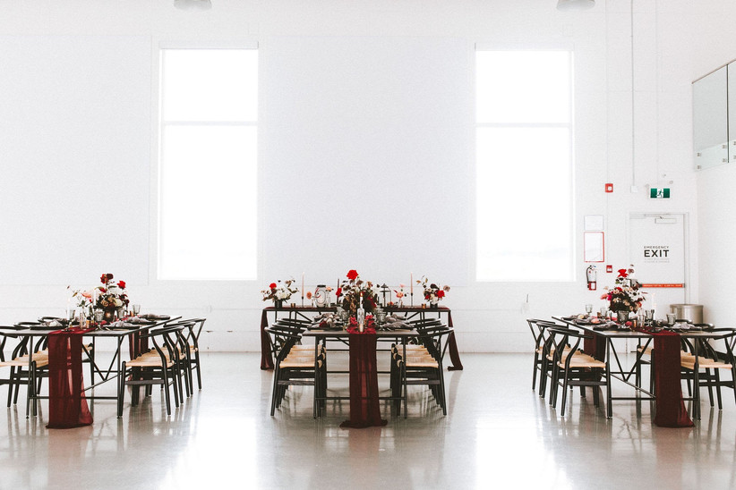 Valentine's Day wedding reception decor