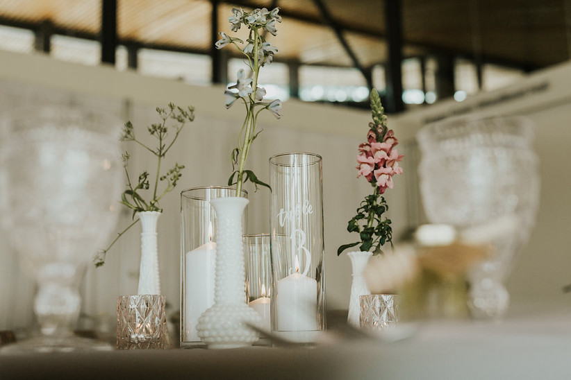 Glass pillar candle holder table numbers