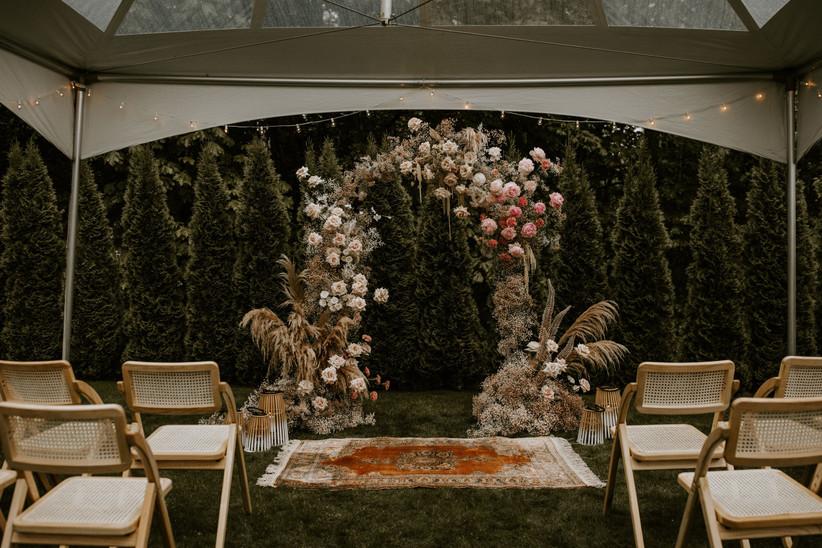 Backyard wedding ceremony tent